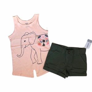 NWT Carter's elephant tank and olive shorts